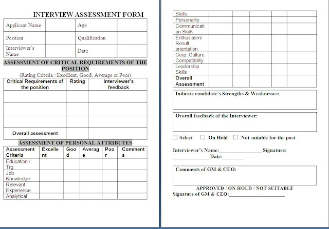 Interview Assessment Form Free Download Sample Template Example Of