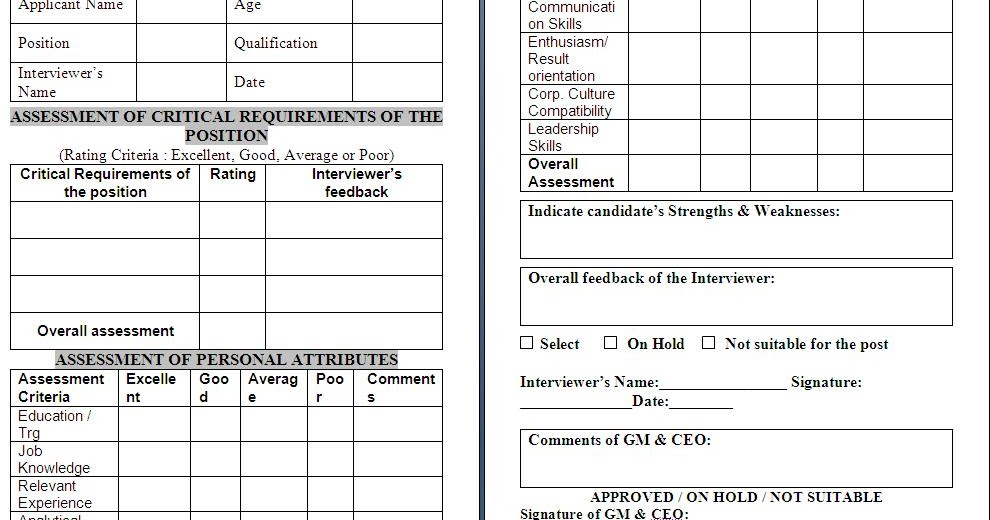 Interview Assessment Form Free Download