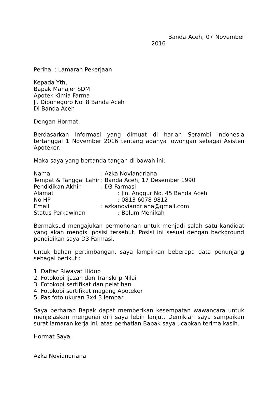 Contoh Surat Lamaran Kerja Untuk Apotek Kimia Farma Contoh Surat