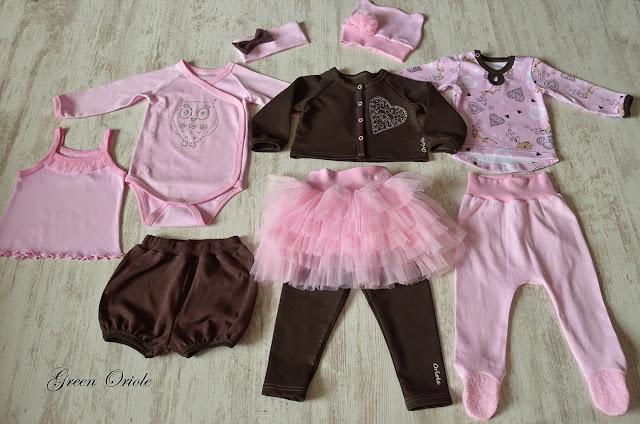Летний комплект для девочки в розово-коричневых тонах