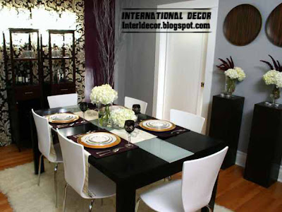 modern black dining table with white chairs, Spanish dining room furniture 2013