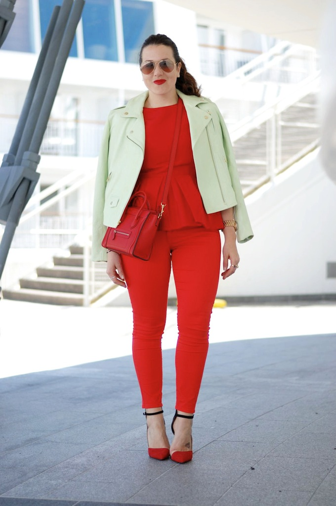 Cherry-hued Tibi peplum and Celine Nano heat up with a green leather Theory jacket Vancouver fashion blogger