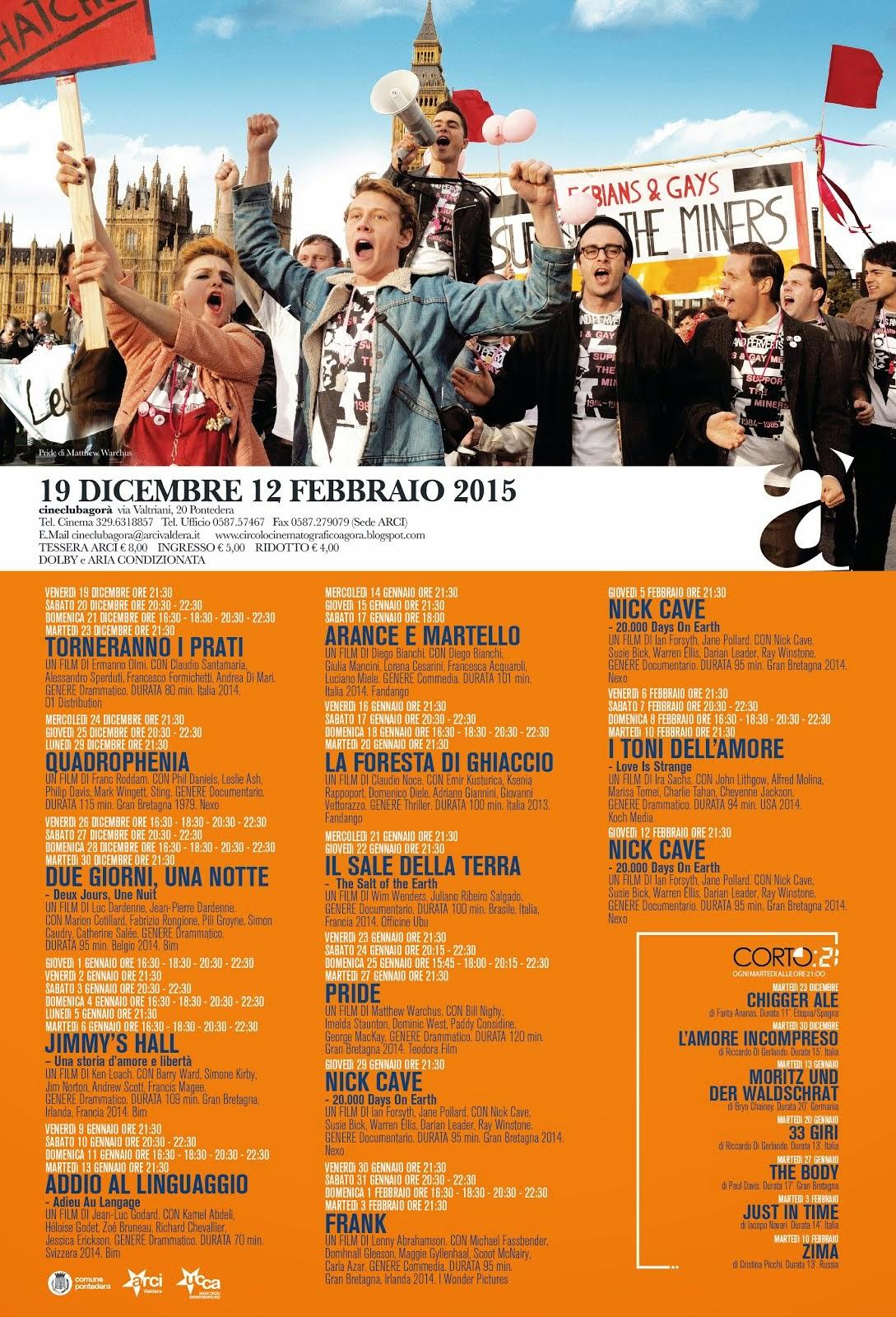 Programma dal 19 dicembre al 12 febbraio 2015