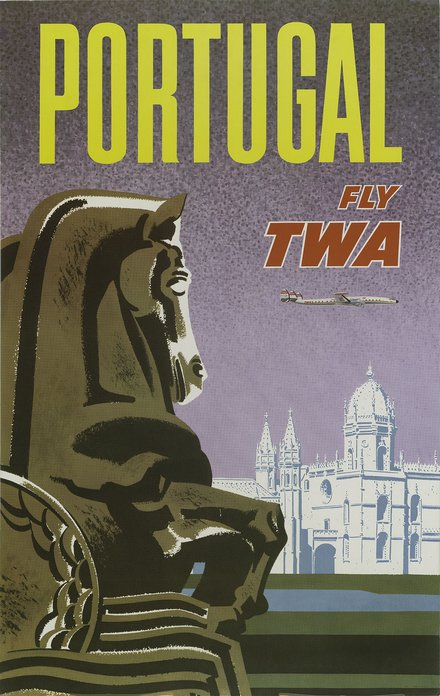 free printable, printable, vintage, vintage posters, travel, travel posters, graphic design, free download, retro prints, classic posters, Portugal Fly TWA - Vintage Travel Poster