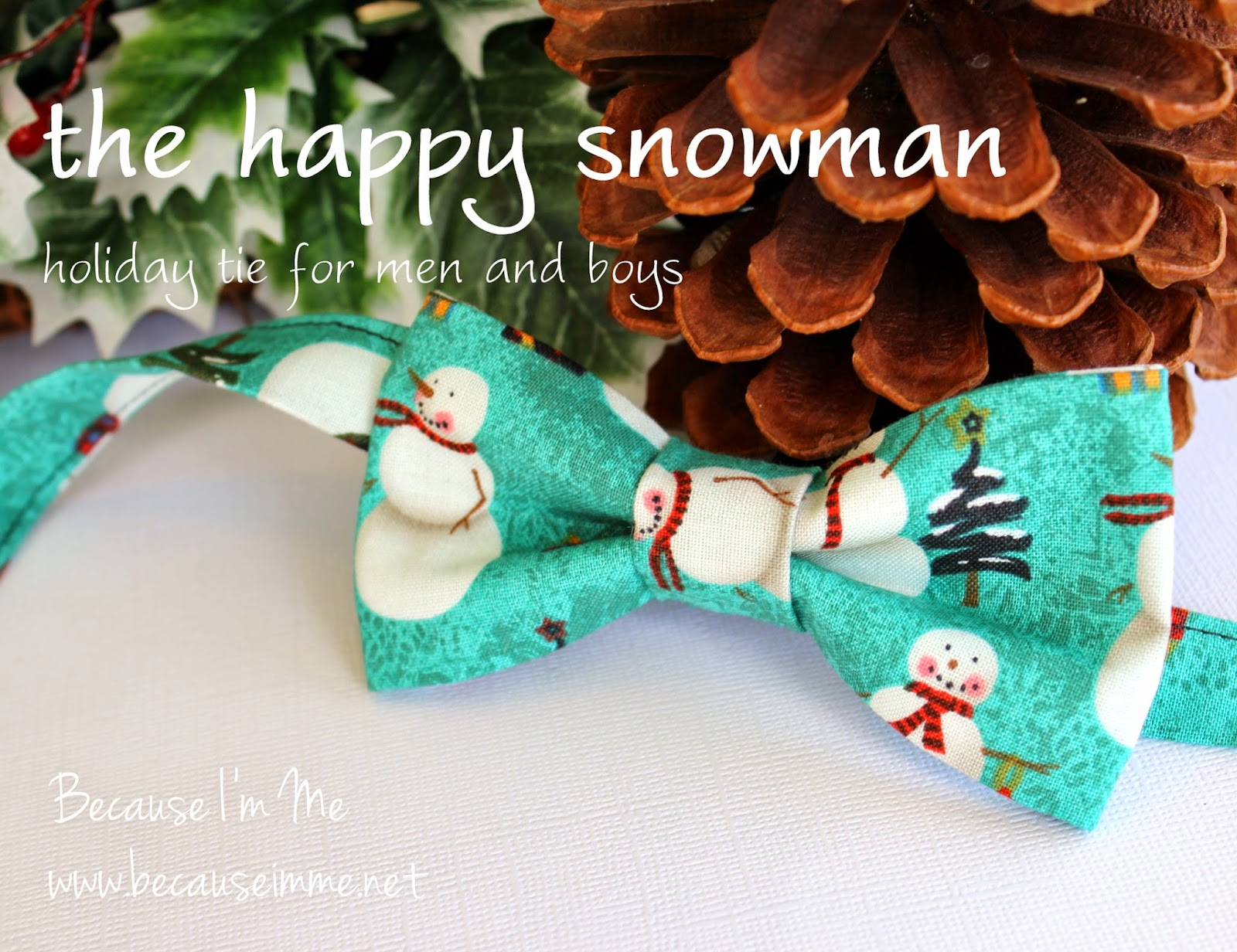 Rustic snowman bowtie and necktie for men and boys