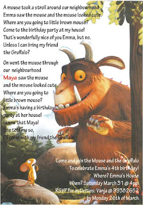 Gruffalo Birthday Invitation Wording