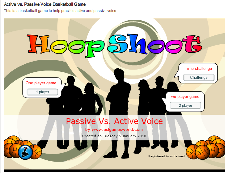 http://eslgamesworld.com/members/games/grammar/basketball/active%20vs.%20passive%20voice/active%20vs.%20passive%20voice.html