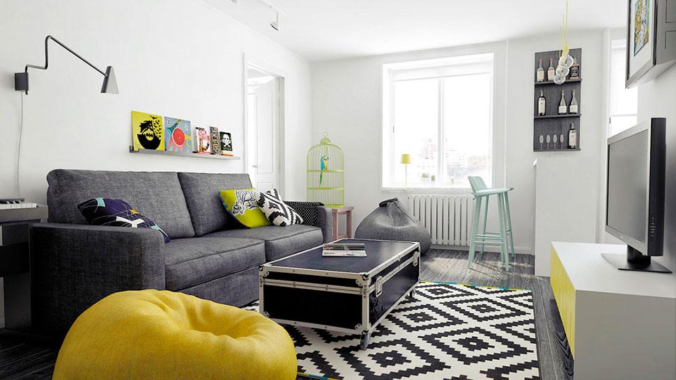 Blanco amarillo gris y negro canela y naranja blog - Decoracion salon blanco y negro ...