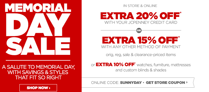 Jcpenney Memorial Day Sale Online And In Stores Printable Coupon My Dfw Mommy