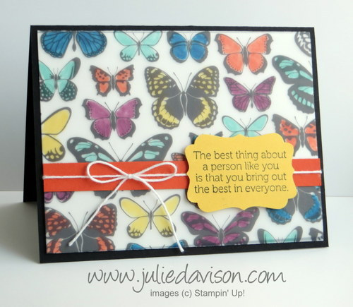 VIDEO: Sale-a-bration Sheer Perfection Vellum Butterflies Card #stampinup #sale-a-bration www.juliedavison.com