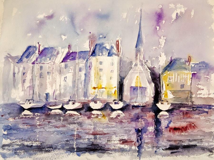 watercolor Honfleur