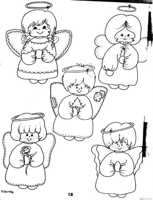 Angelitos para colorear e imprimir - Imagui