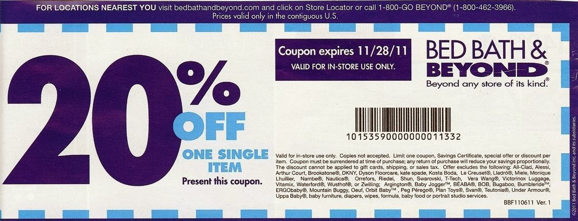 Say goodbye to old school coupons. Now it's easier than ever to find great deals with Coupons for Bed Bath & Beyond. Save up to 80% with our promo codes and in store and web football-watch-live.mltionize your couponing experience with access to hundreds of in-store and local coupons for Bed Bath & Beyond.