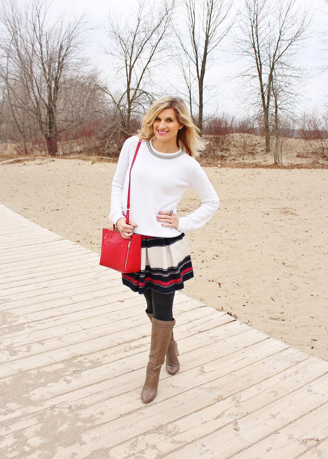 bijuleni,ann taylor, skirt, red tote