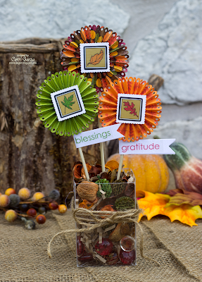SRM Stickers Blog - Fall Centerpiece by Corri - #Fall #centerpiece #thanksgiving #stickers #clear box