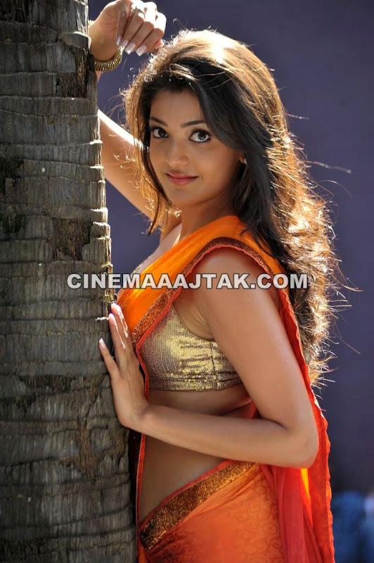 Kajal Agarwal Hot Orange Golden Saree Pics - 4 Pics