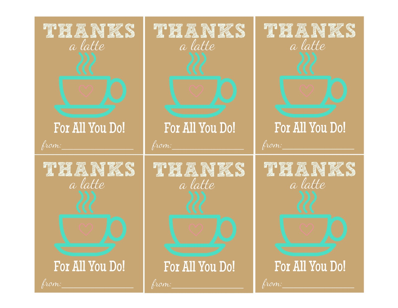 The larson lingo thanks a latte free printable Thanks for all you do gifts