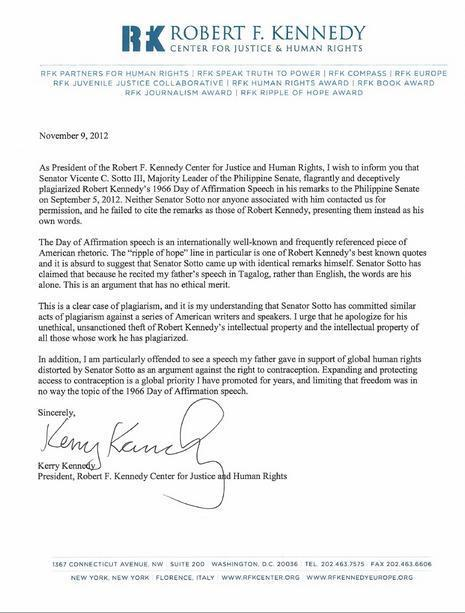 Kerry Kennedy's Letter to Tito Sotto