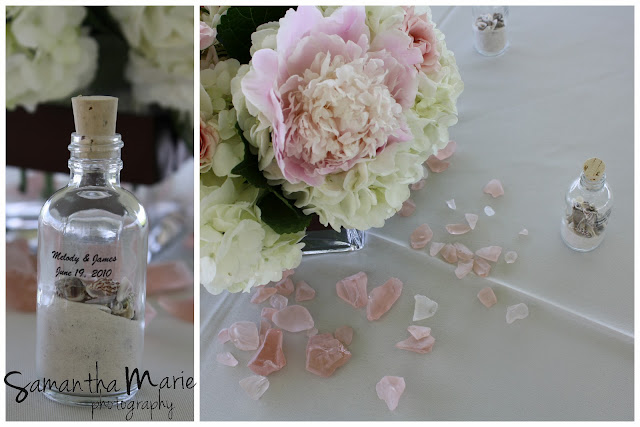 peony centerpiece and pink seaglass