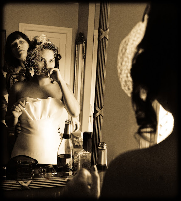 Vintage Bride Getting ready
