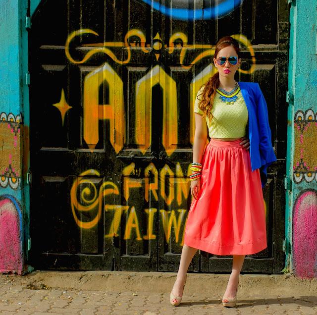 Cobalt Blue Blazer, Yellow Top & Orange Midi Skirt, Vero Moda, Color blocking
