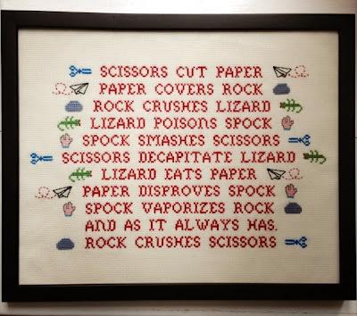 Sheldons Rock, paper, scissors, lizard, spock cross stitch embroidery