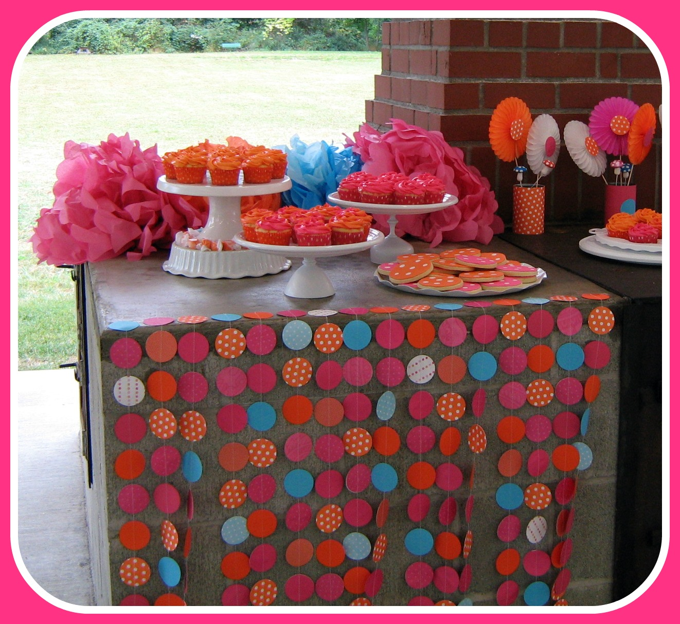 Fowl single file polka dot party dessert table and food for Polka dot party ideas