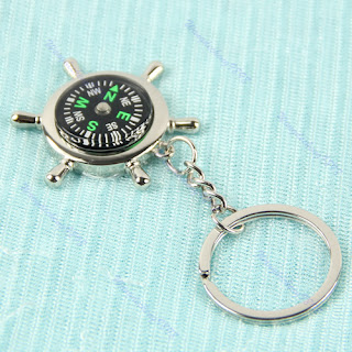 Outdoor Sport Pendant Rudder Compass Key Chain Ring Keychain Keyfob Gift