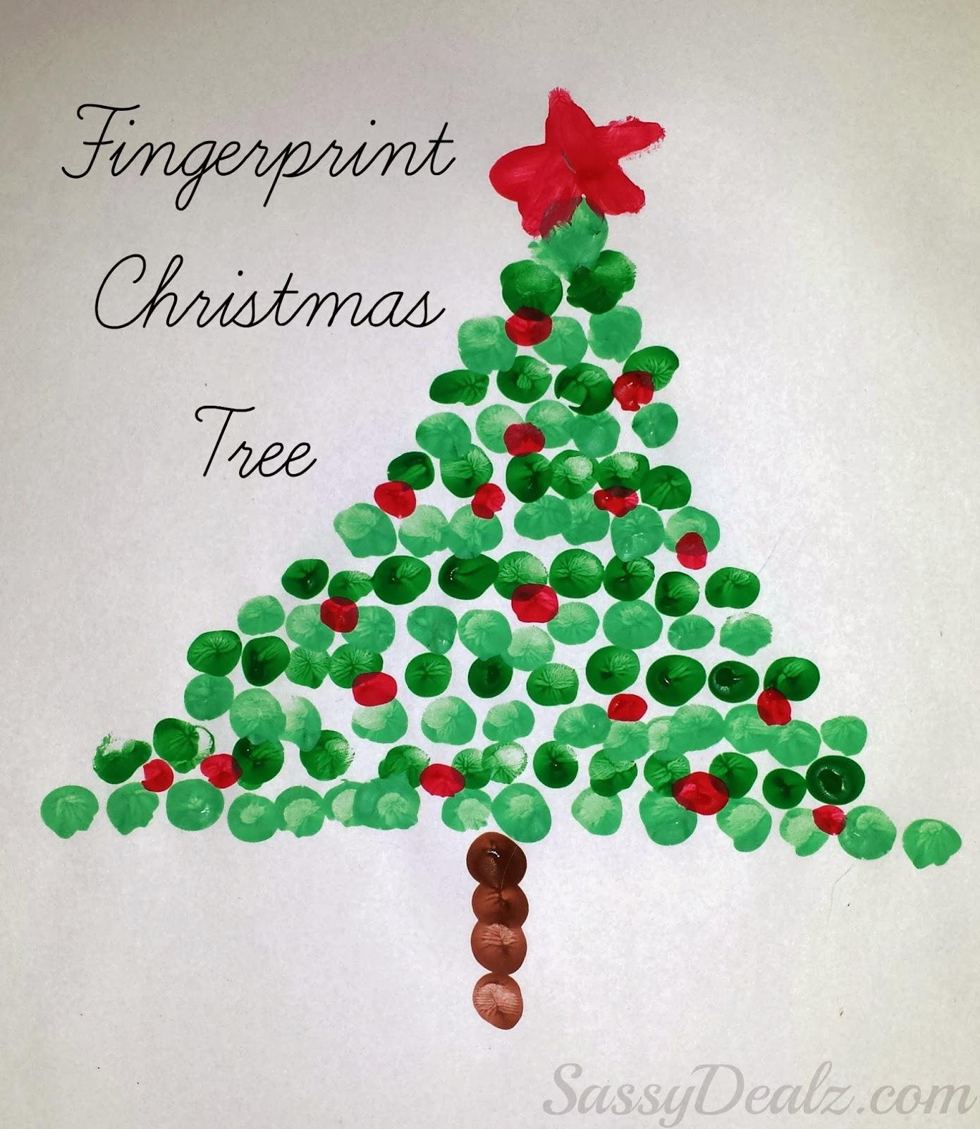 Arts And Craft Christmas Ideas Part - 29: Fingerprint Christmas Tree Craft For Kids
