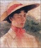 «Νέα κοπέλα με καπέλο»,λάδι σε καμβά.