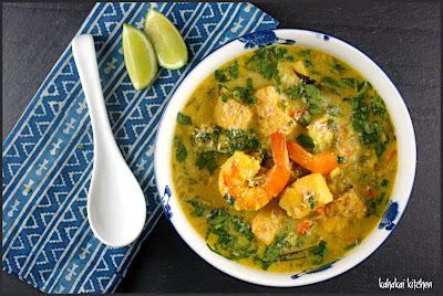 south indian rice and seafood soup: creamy, coconut & curry for souper (soup, salad, & sammie) sundays
