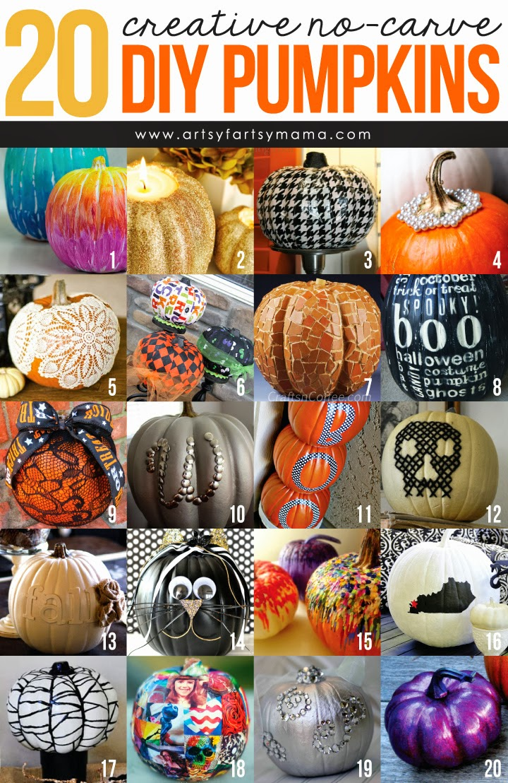 20 Creative No-Carve DIY Pumpkins at artsyfartsymama.com #Halloween #pumpkin