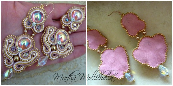 soutache earrings swarovski  pearls rose gold 14k