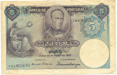 Portugal currency money 5 Escudos banknote