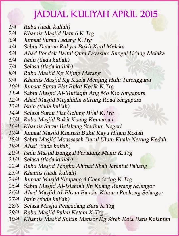 Jadual Kuliah Ustaz Azhar Idrus Bulan APRIL 2015