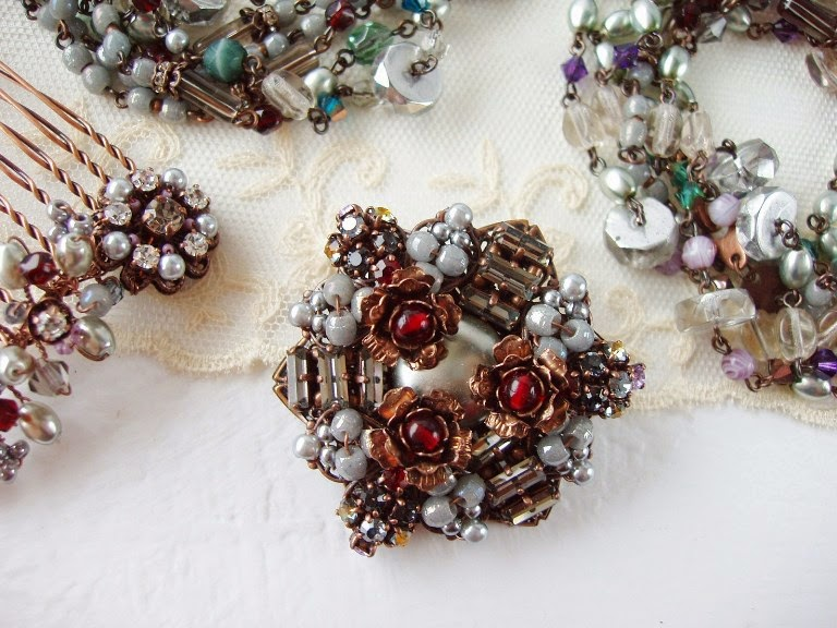 rhinestone brooch beaded hair comb long flapper necklace