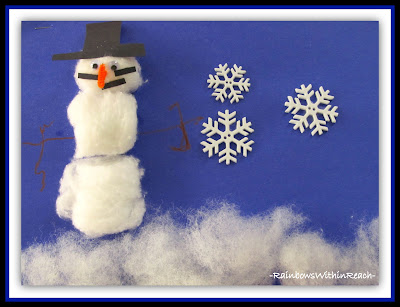 photo of: Snowman Craft Using Cotton Balls via Winter RoundUP from RainbowsWithinReach