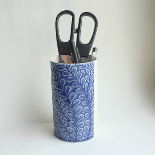 ceramic blue pen pot textured handmade lauren ceramics