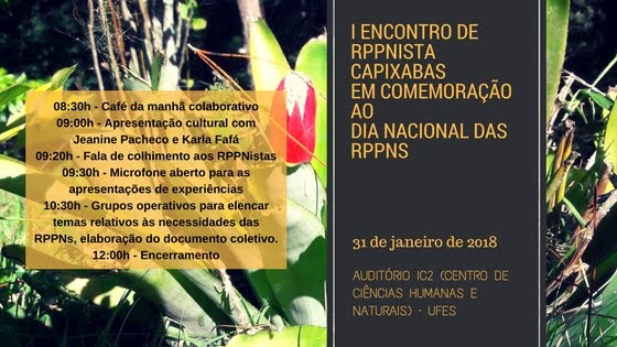 I ENCONTRO DE RPPNISTAS CAPIXABAS EM COMEMORAÇÃO AO DIA NACIONAL DAS RPPNS