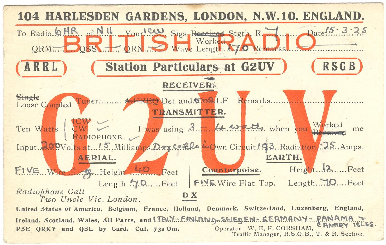 The G4UZN Historic QSL Collection