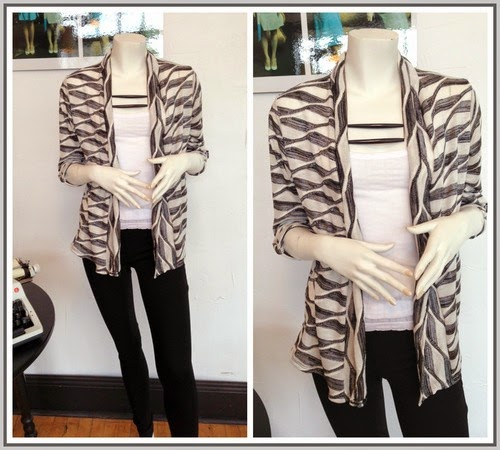 NEW! Lauren Cardigan by Sarah Bibb,  Level 99 Jeggings, Woo Tank, and MIN necklaces at Folly