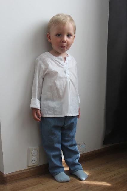 spodnie, koszula, elegant, jeans, bawełna, batyst