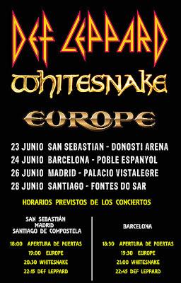 Horarios de los conciertos de Def Leppard, Whitesnake y Europe en España