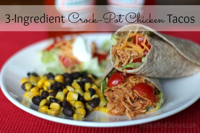 3-Ingredient Crock Pot Chicken Tacos from www.twohealthykitchens.com
