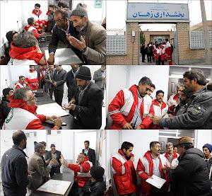 حضور مردم معترض زلزله زده در بخشداری زهان