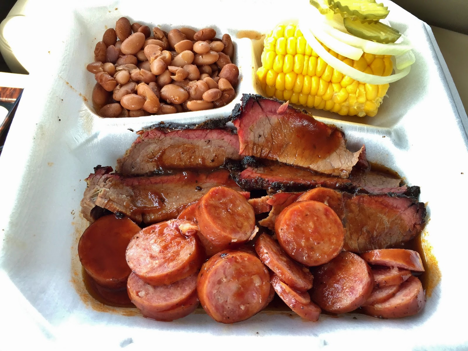 The sausage and brisket at Kirby's in Mexia