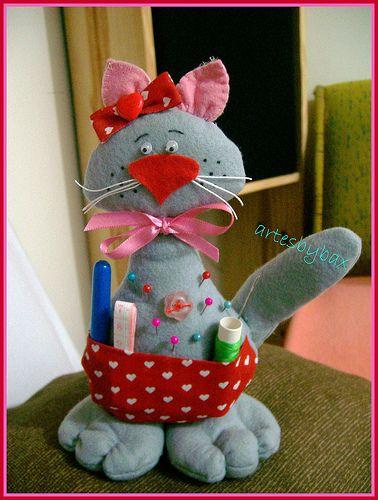 Muñecos country: gato costurero