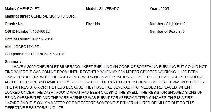 gm canada recall blower motor resistor fire hazard thedieselpage rh thedieselpageforums com gm wiring harness recall Recent GM Recalls