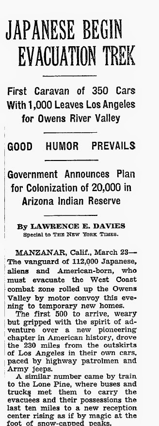 "The New York Times (3/24/42) covers Japanese  internment: ""Good Humor Prevails"""