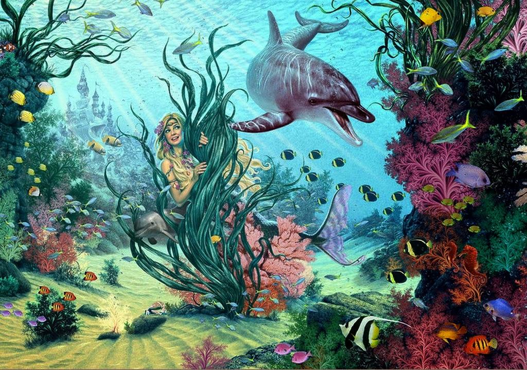 Cuadros modernos pinturas y dibujos paisajes submarinos for Imagenes de jardines exoticos